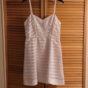 bebe a-line Satin/Sheer White Summer Dress